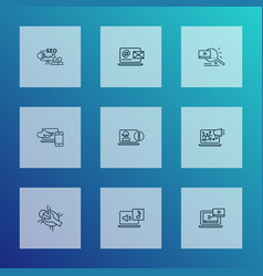 search icons line style set with video search vector image