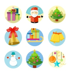 set 9 christmas icons on white background vector image