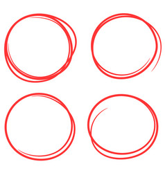 set hand drawn red scribble circles vector image