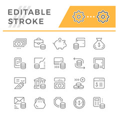 set line icons of money vector image