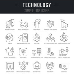 set line icons technology vector image