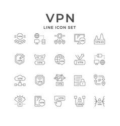 set line outline icons vpn vector image