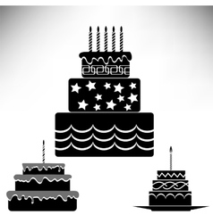 Set of Silhouettes Sweet Cakes vector image vector image