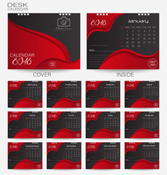 set red desk calendar 2018 design template vector image