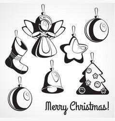 set stencils christmas decorations vector image