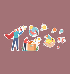 set stickers spread knowledge ideas male vector image