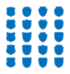 shield shape icons set blue label signs isolated vector image