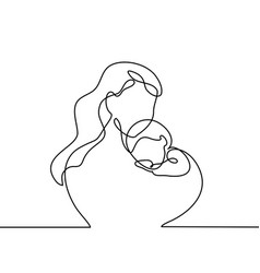 simple line art of a mother holding her baby vector image
