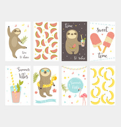 sloth collection set summer cards vector image
