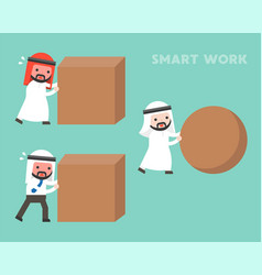 Smart work concept arab businessman rolling vector