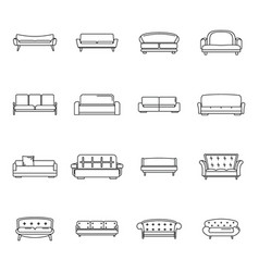 sofa chair room couch icons set outline style vector image