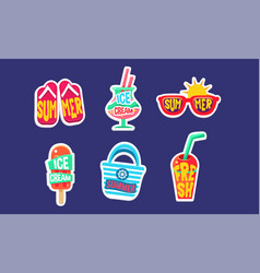 summer stickers set bright summer holidays trendy vector image
