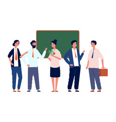 teachers team back to school professors crowd vector image