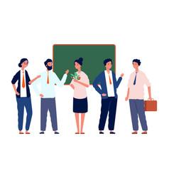 Teachers team back to school professors crowd vector