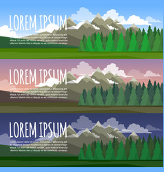 the landscape of forests and mountains day night vector image