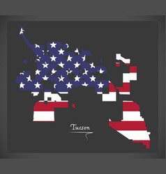 tucson arizona map with american national flag vector image