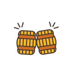 Two barrel toast oktoberfest icon line filled vector