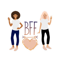 two smiling girls hand drawn phrase and heart vector image