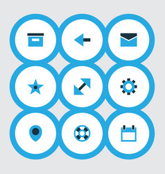 user icons colored set with calendar setting vector image