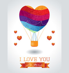 valentine background with hot air balloon and vector image