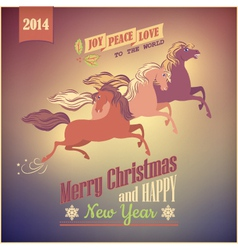Vintage galloping horse christmas 2014 card vector