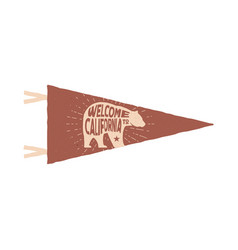 Vintage hand drawn pennant template welcome to vector