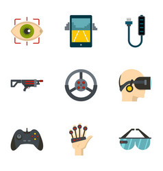 vr innovation icons set flat style vector image