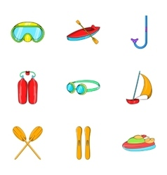 Water stay icons set cartoon style vector