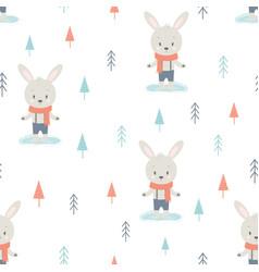 winter pattern cartoon hare vector image