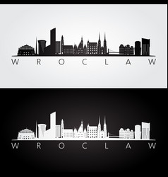 Wroclaw skyline and landmarks silhouette black vector