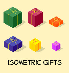 isometric gift box and presents set vector image