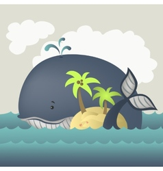 Whale and island in blue sea vector image vector image