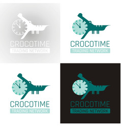 Crocodile alligator animal icon set collection vector