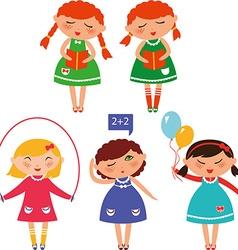 cute schoolgirls vector image