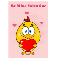 cute yellow chick holding a valentine love heart vector image vector image