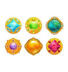 fantasy golden amulets set vector image
