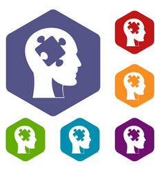 head with puzzle icons set hexagon vector image vector image