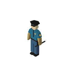 isolated policeman isometric officer vector image