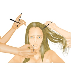 Model and hands of stylists vector image vector image