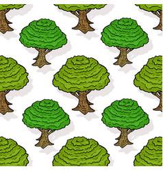 seamless pattern of green trees cartoon design vector image