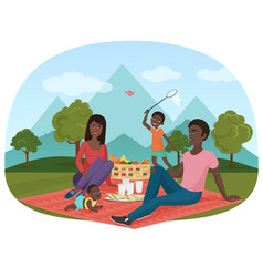 the of cheerful african family vector image