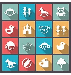 zoo and animals icons in flat design vector image vector image