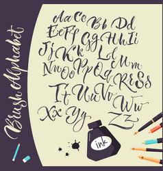 Artistic background with ink pens and alphabet vector