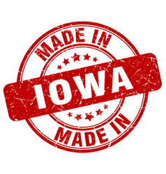 made in iowa red grunge round stamp vector image vector image