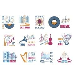 Retro music emblems vector image