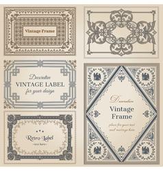Vintage frames and design elements vector image vector image