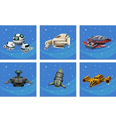 Spaceships floating in the space vector image
