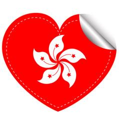 sticker design for hongkong flag in heart shape vector image vector image