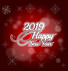 2019 happy new year on red background vector