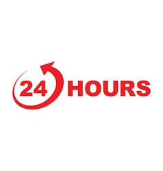 24 hours icon red vector image